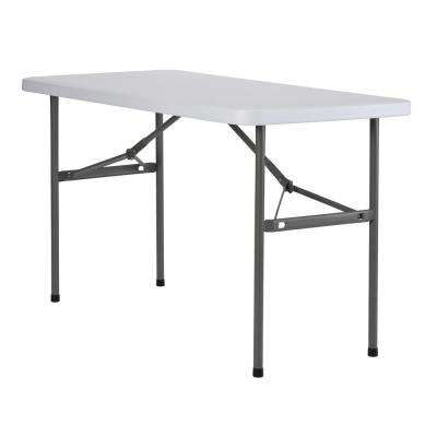 48 in. White Plastic Portable Folding Utility Table