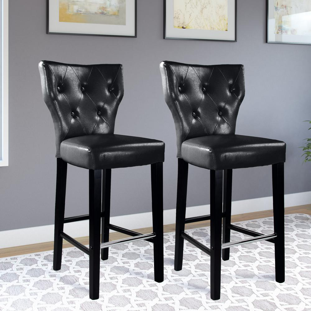 Corliving Kings 31 In Black Bonded Leather Bar Stool Set