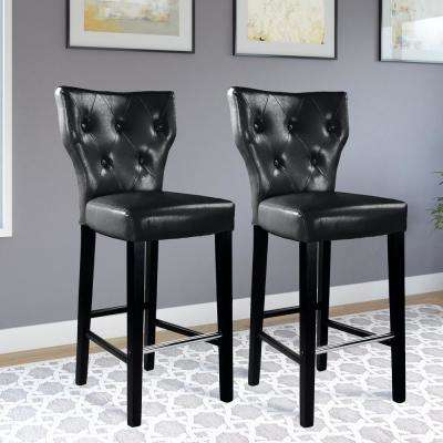 Kings 31 in. Black Bonded Leather Bar Stool (Set of 2)