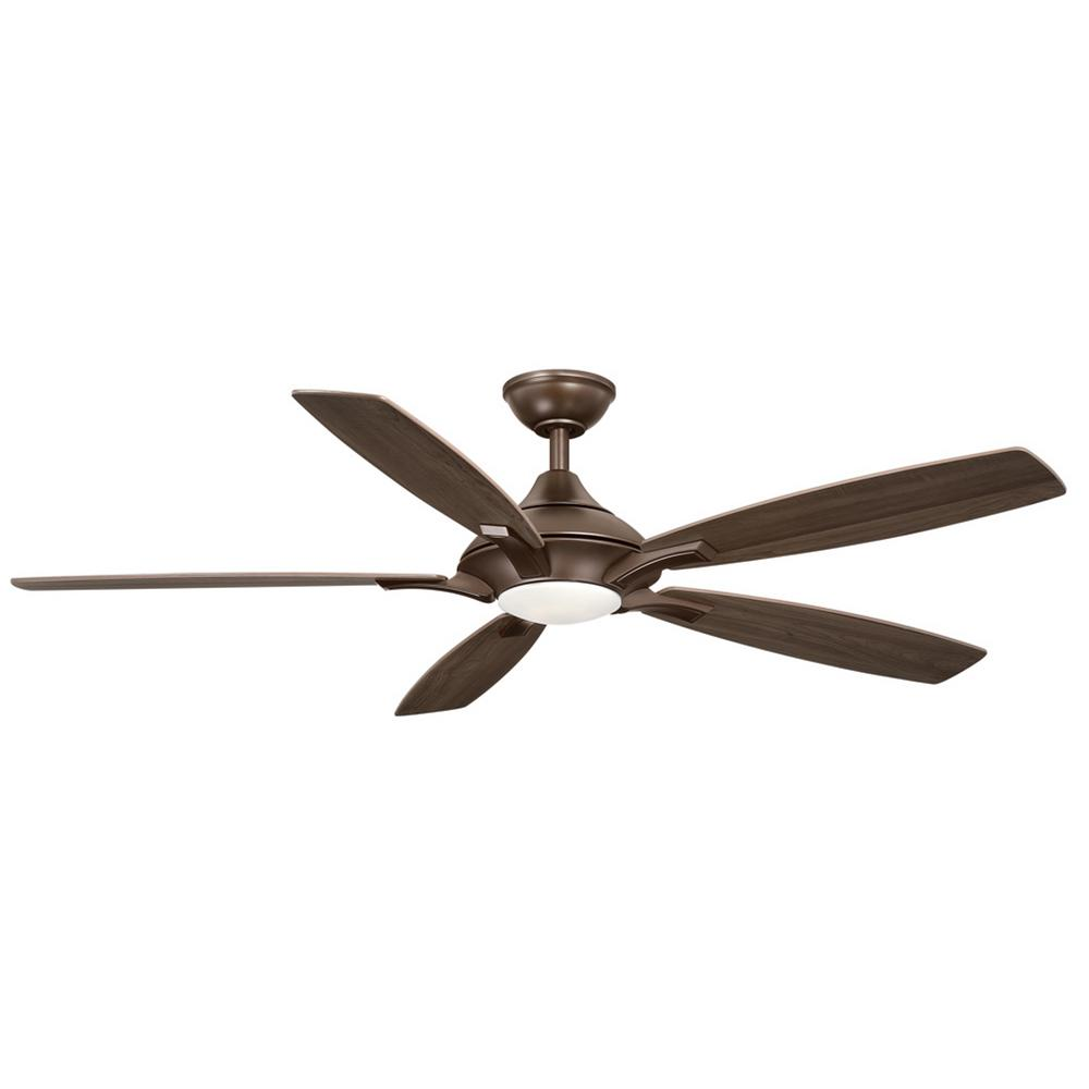 Home Decorators Collection Petersford 56 In Integrated Led Indoor Oil Rubbed Bronze Ceiling Fan With Light Kit And Remote Control