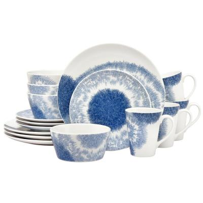 16-Piece Casual blue Porcelain Dinnerware Set (Service for 4)