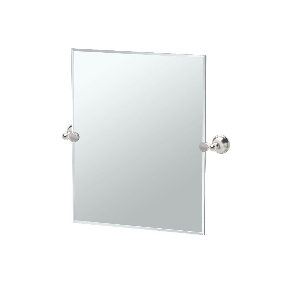 Gatco Laurel Avenue 20 in. W x 24 in. H Frameless Single Rectangle Mirror in Satin Nickel