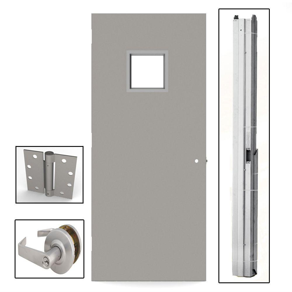 L i f industries 36 in x 80 in gray flush steel vision light commercial door unit with for Commercial exterior steel doors