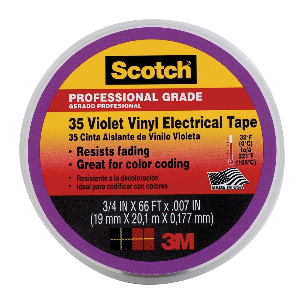 Scotch 3/4 in. x 66 ft. Electrical Tape -Violet (Case of
