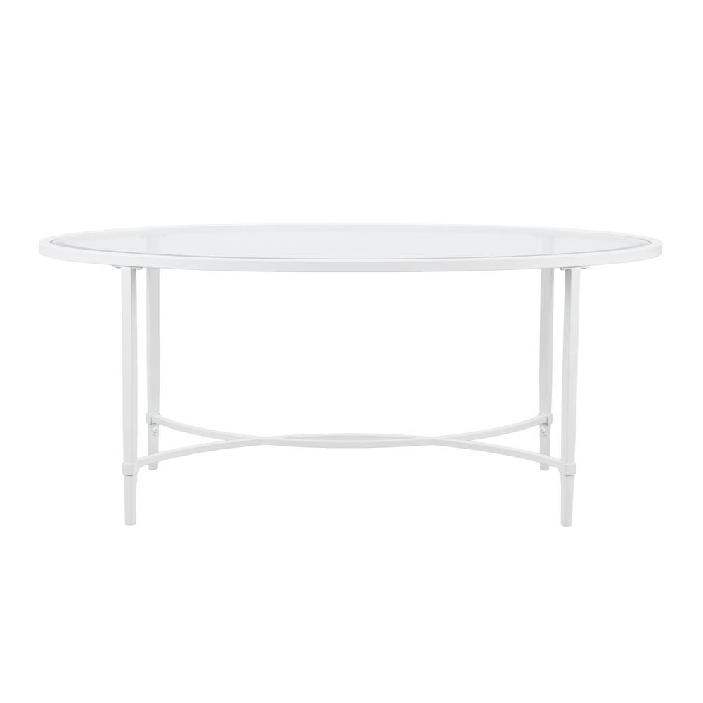 Galena White Oval Metal and Glass Cocktail Table