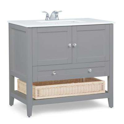 Cape Cod 36 in. Bath Vanity in Warm Grey with Engineered Marble Extra Thick Vanity Top in White with White Basin