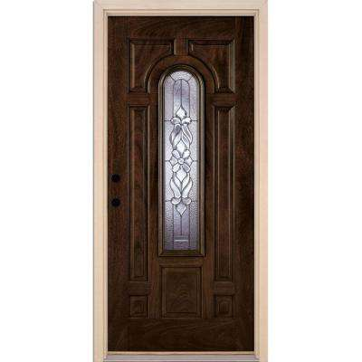 37.5 in. x 81.625 in. Lakewood Zinc Center Arch Lite Stained Chestnut Mahogany Right-Hand Fiberglass Prehung Front Door