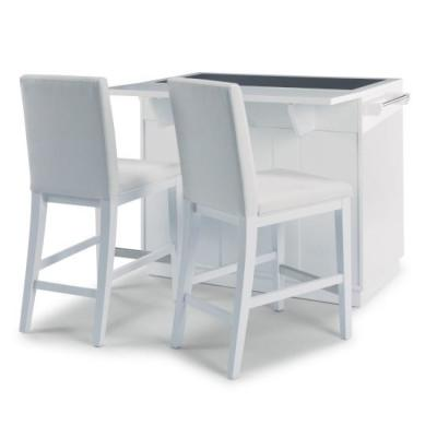 Linear White Kitchen Island with 2-Bar Stools