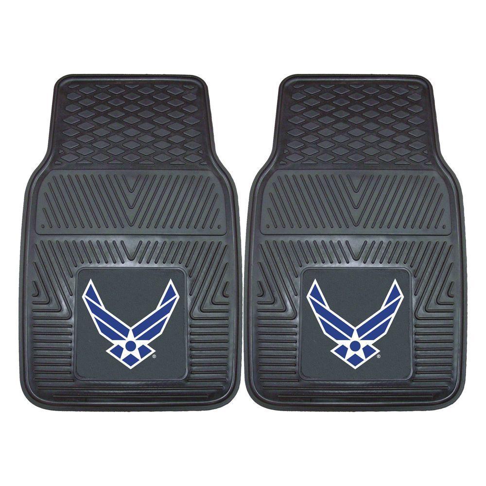 U.S. Air Force Black Heavy Duty 2-Piece 18 in. x 27 in. Vinyl Car Mat