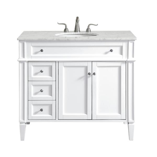 40 in. W x 21.5 in. D x 21.5 in. H Single Bathroom Vanity in White with White Marble Vanity Top and White Basin