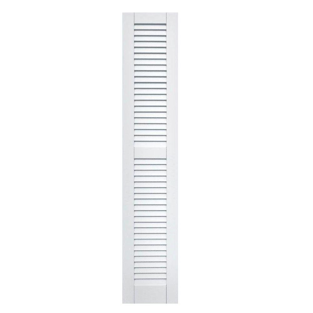 Winworks Wood Composite 12 in. x 63 in. Louvered Shutters Pair #631 White