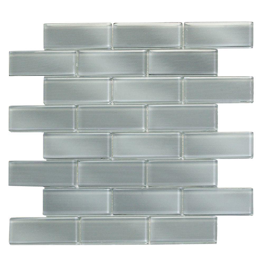 Mardi Gras Carrollton 12 in. x 12 in. x 6.35 mm Light Gray Glass Mesh-Mounted Mosaic Wall Tile (10 sq. ft. / case)