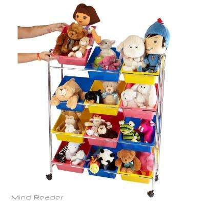 Multi-color Metal Toy Storage Organizer with 12 Plastic Bins