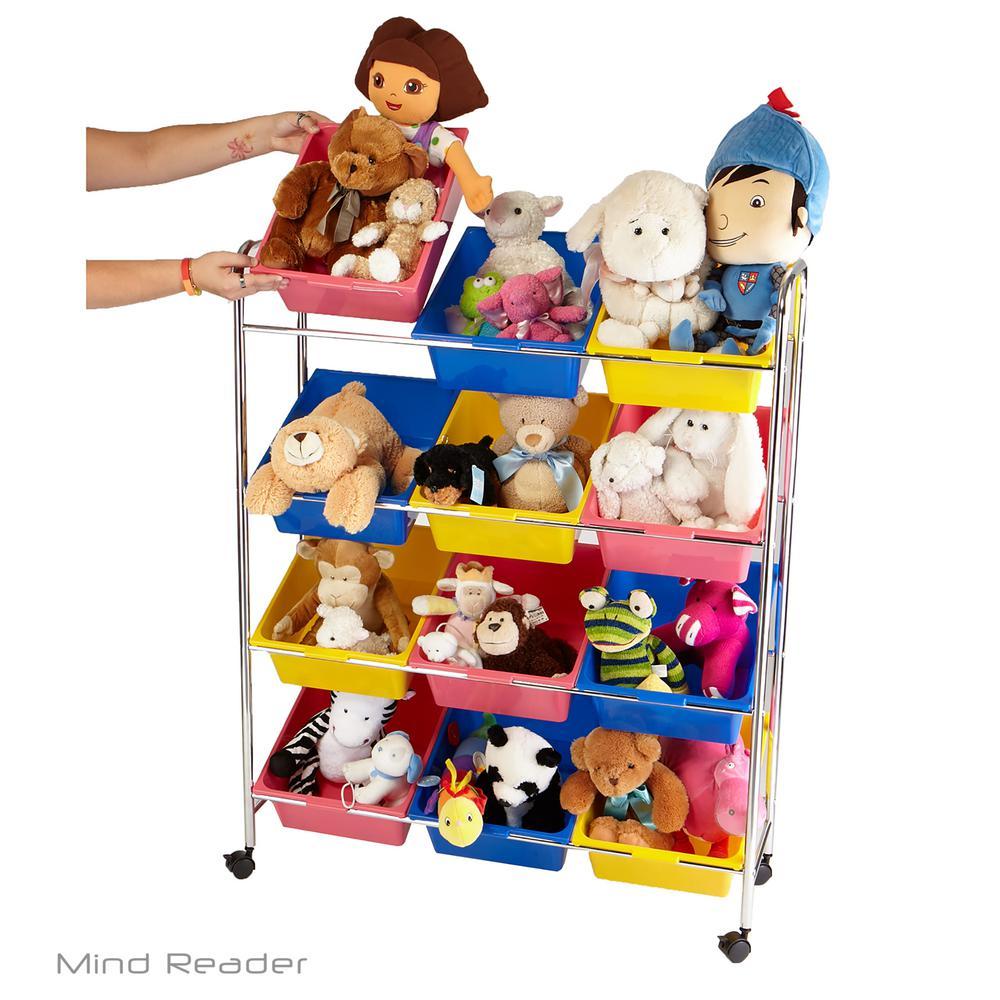 Mind Reader Multi-color Metal Toy Storage Organizer with 12 Plastic Bins  sc 1 st  Home Depot & Mind Reader Multi-color Metal Toy Storage Organizer with 12 Plastic ...