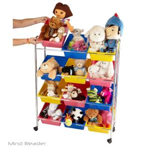 Mind Reader Multi-color Metal Toy Storage Organizer with 12 Plastic Bins by Mind Reader