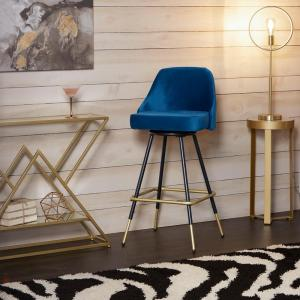 Tremendous Victor Mid Century 24 In Adjustable Height Blue Velvet Swivel Barstool Forskolin Free Trial Chair Design Images Forskolin Free Trialorg