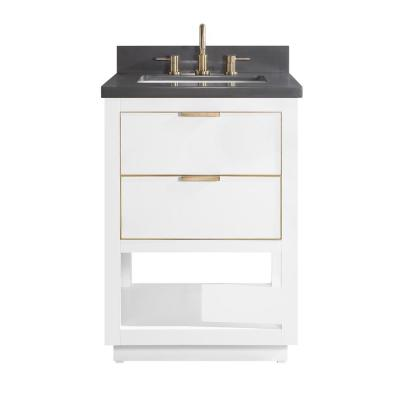 Allie 25 in. W x 22 in. D Bath Vanity in White with Gold Trim with Quartz Vanity Top in Gray with White Basin
