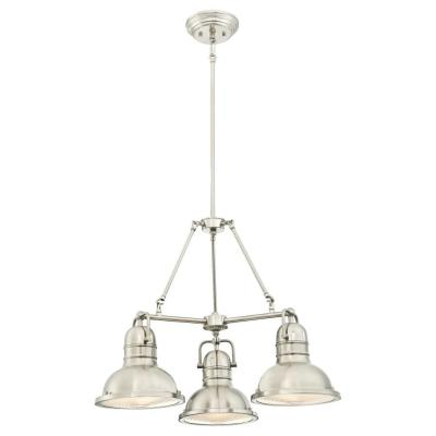 Boswell 3-Light Brushed Nickel Chandelier with Prismatic Acrylic Lens