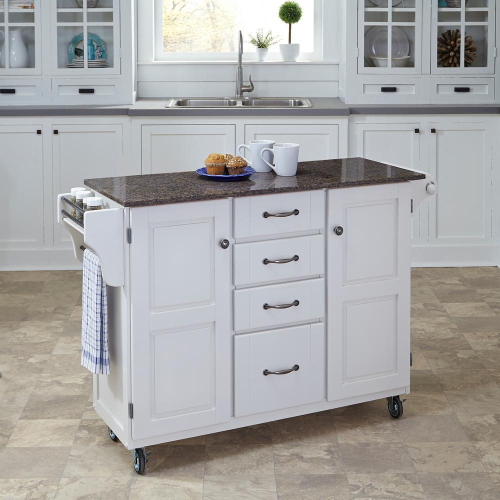 Bedford White Kitchen Cart With Butcher Block Top : Home Styles Create-a-Cart White Kitchen Cart With Quartz Top-9100-0208 - The Home Depot