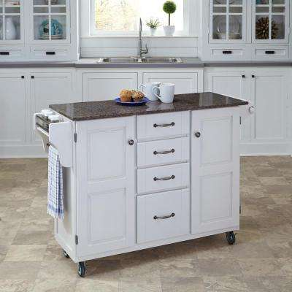 Create-a-Cart White Kitchen Cart With Quartz Top