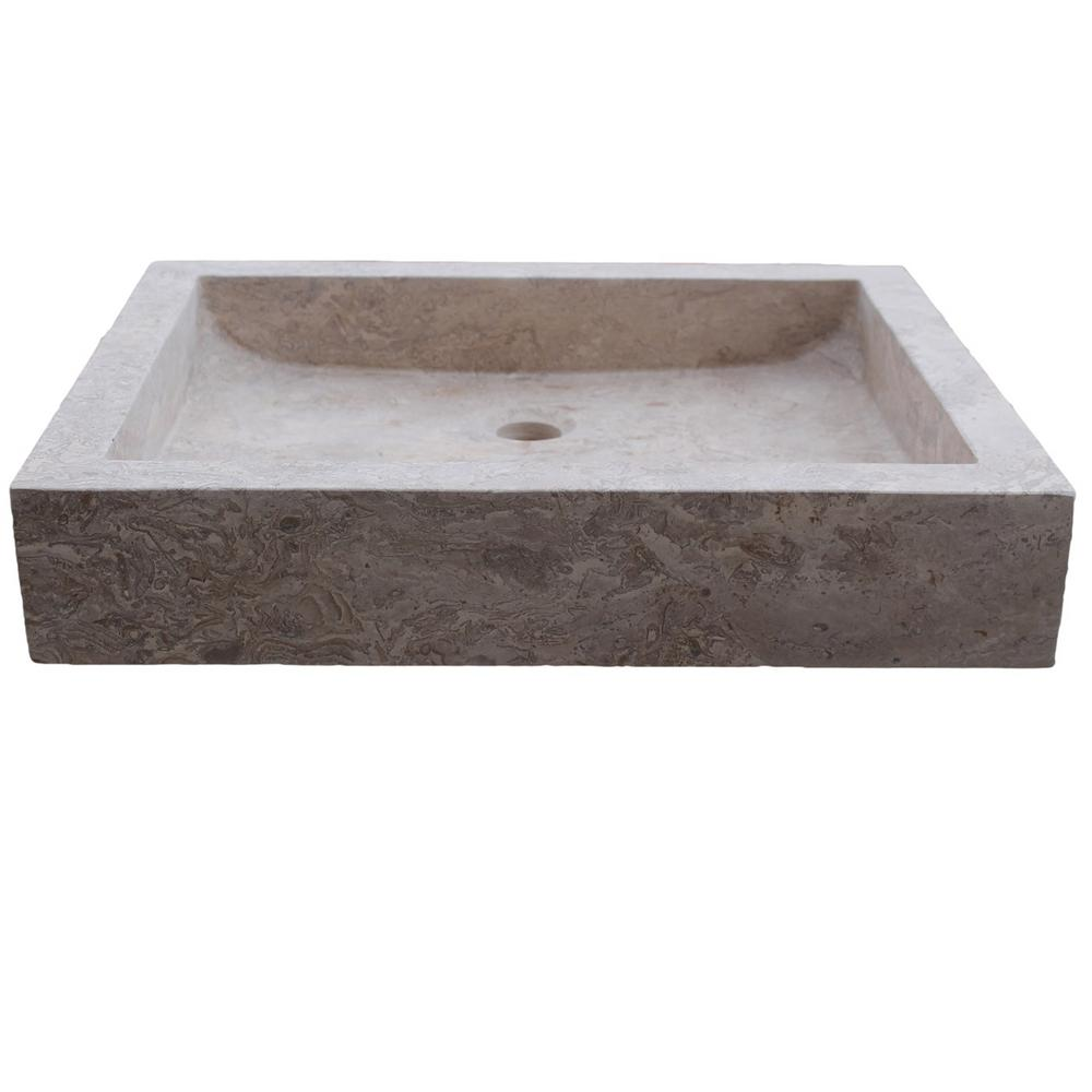 Angled Flow Rectangular Natural Stone Vessel Sink In Almond Brown