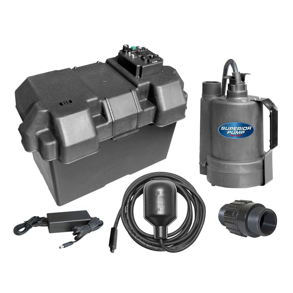 12-Volt Submersible Emergency Battery Backup Sump Pump System with Tethered