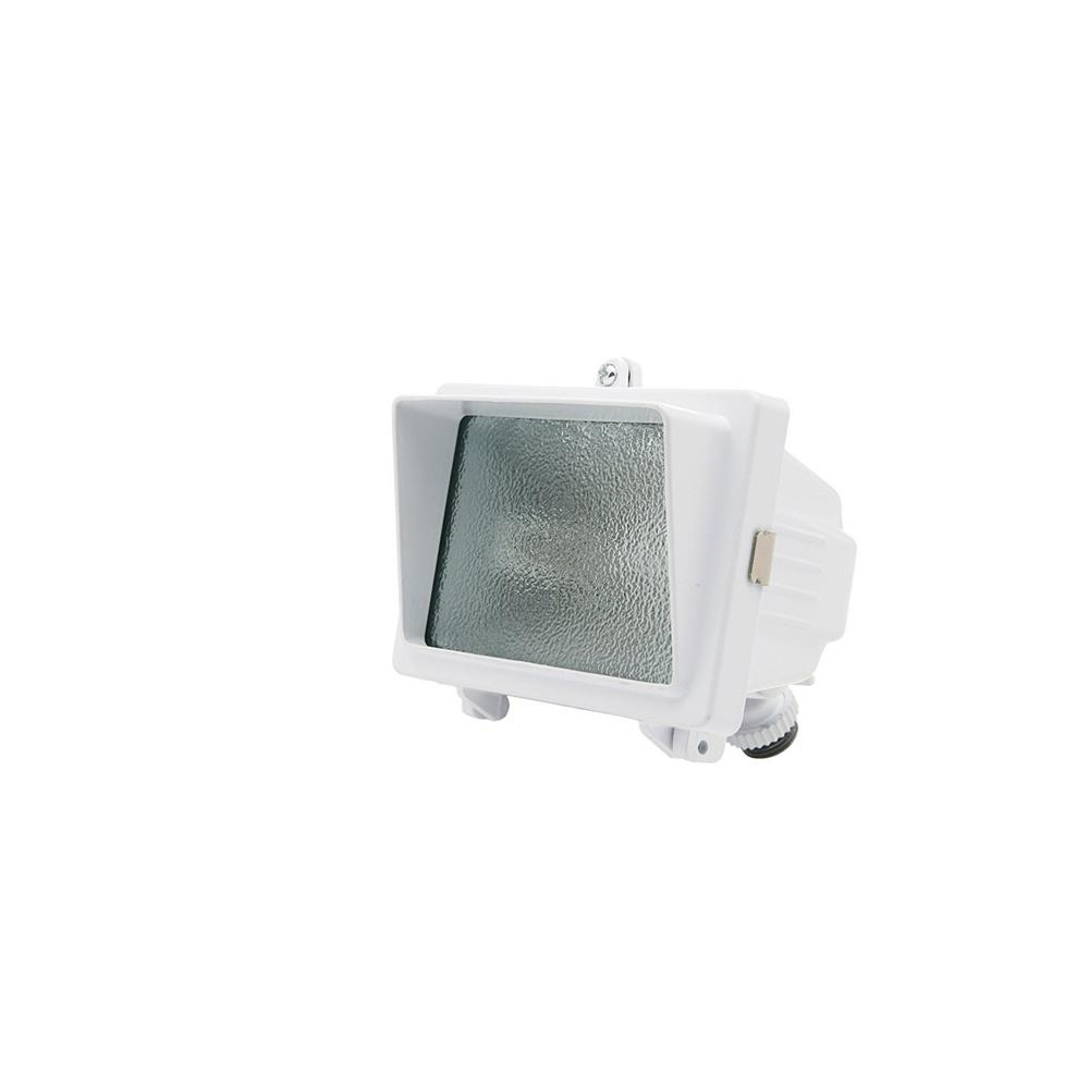 150-Watt White Outdoor Security Flood Light with Halogen Bulb