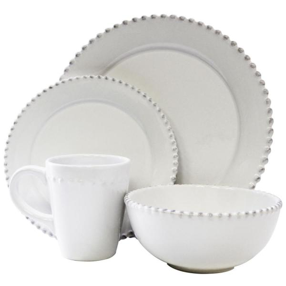 16-Piece White Bianca Bead Round Dinnerware Set