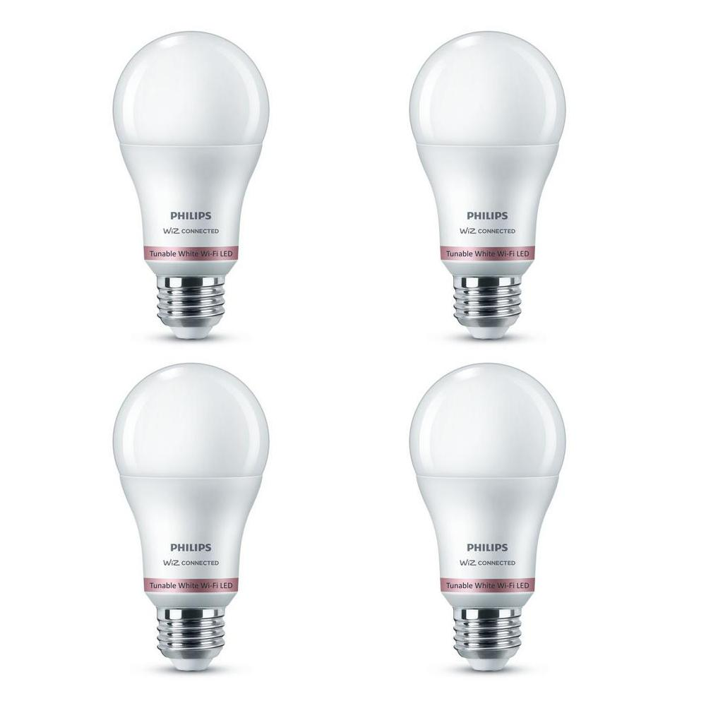 Philips Tunable White A19 LED 60-Watt Equivalent Dimmable Smart Wi-Fi Wiz Connected Wireless Light Bulb (4-Pack)