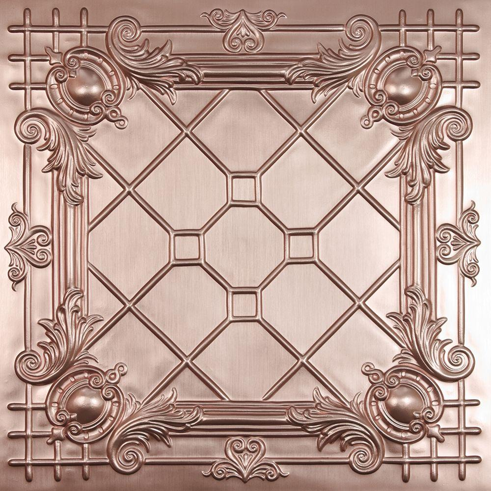 Ceilume Bentley Faux Copper 2 ft. x 2 ft. Lay-in or Glue-up Ceiling Panel (Case of 6)