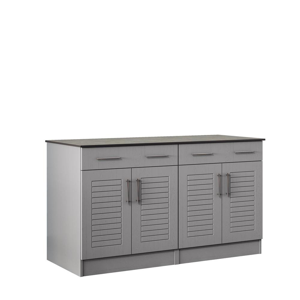 Key West 59.5 in. Outdoor Cabinets with Countertop 4-Door and 2-Drawer