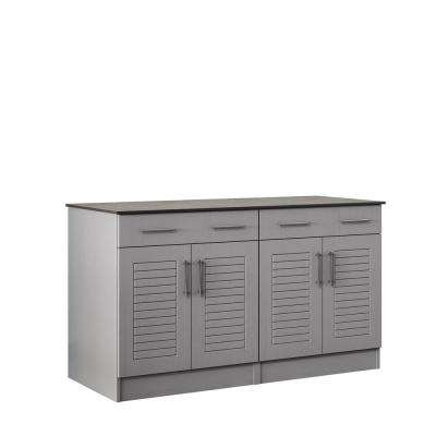 Key West 59.5 in. Outdoor Cabinets with Countertop 4-Door and 2-Drawer in Gray