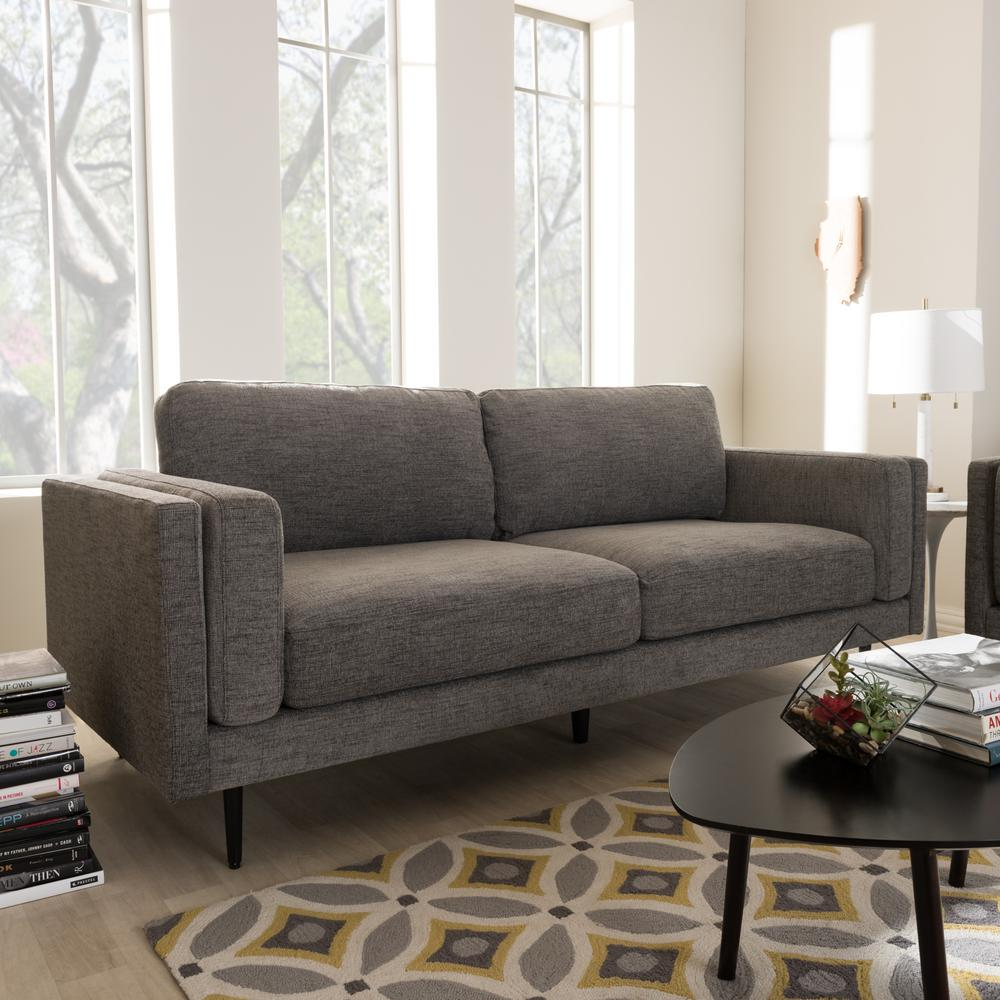 Baxton Studio Brittany Contemporary Gray Fabric Upholstered Sofa