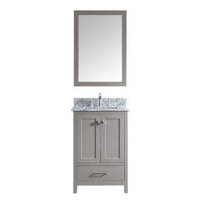 Caroline Madison 25 in. W Bath Vanity in Cashmere Gray with Granite Vanity Top in Arctic White with Sq. Basin and Mirror