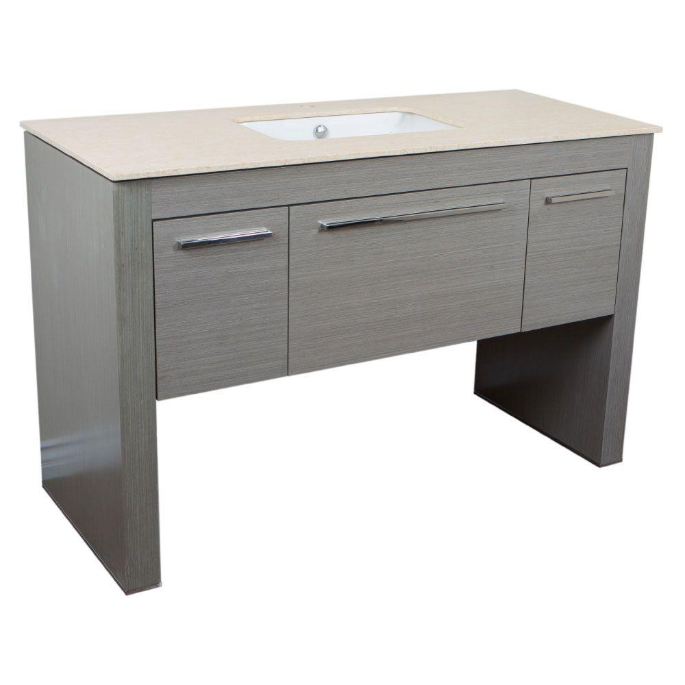 Bellaterra Home Napavine 55.3 in. W x 23.6 in. D Single Vanity in Gray with Marble Vanity Top in Cream Marfil with White Basin