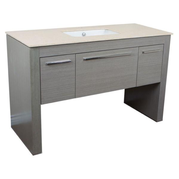 Napavine 55.3 in. W x 23.6 in. D Single Vanity in Gray with Marble Vanity Top in Cream Marfil with White Basin