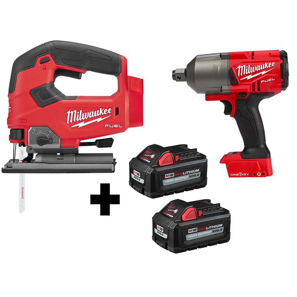 M18 FUEL 18-Volt Lithium-Ion Brushless Cordless Jig Saw and 3/4 in. Impact Wrench with (2) 6.0Ah Batteries