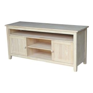 International Concepts 57 in. Unfinished Wood TV Stand Fits TVs Up to 60 in. with Storage Doors