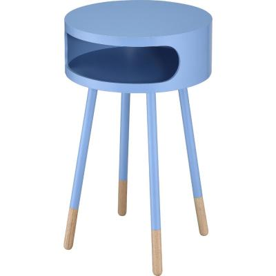 Amelia Light Blue Natural Sonria Round End Table