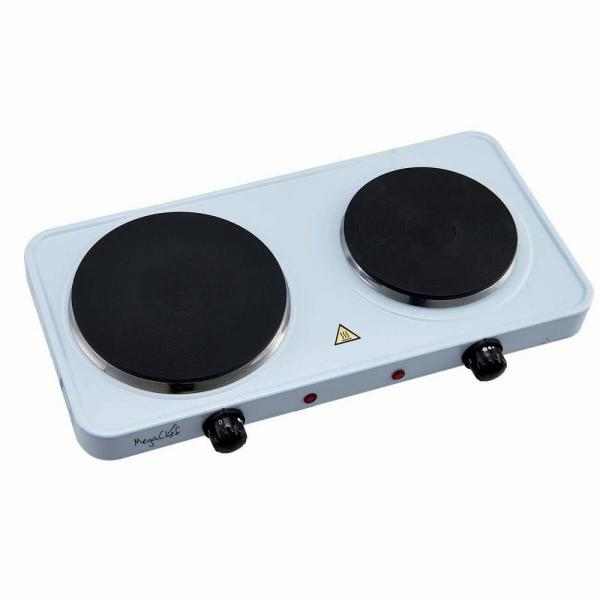 MegaChef Portable 2-Burner 7.25 in. Sleek White Hot Plate with Temperature