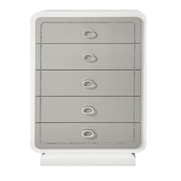 Allendale 5-Drawers Ivory and Latte High Gloss Chest of Drawers