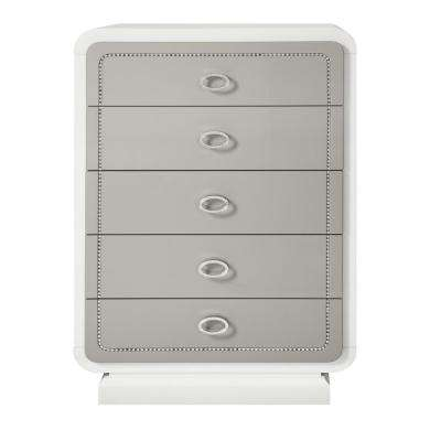 Allendale 5-Drawers Ivory and Latte High Gloss Chest