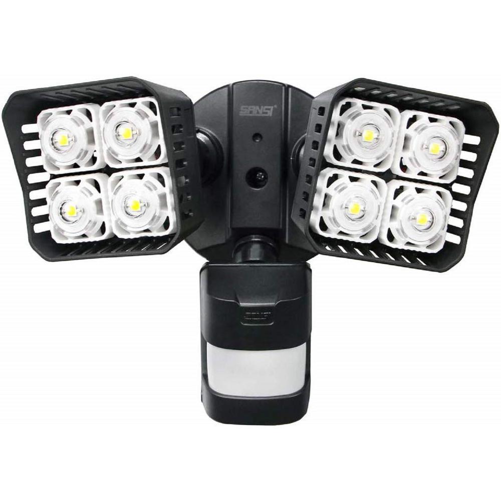 30-Watt 3400 Lumens 180-Degree Black Motion Activated Outdoor Integrated LED 5000K Waterproof Flood Light