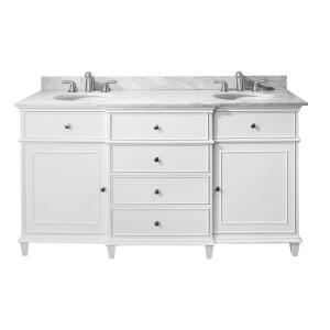 Windsor 61 in. W x 23 in. D x 35 in. H Vanity in White with Marble Vanity Top in Carrera White and White Basins