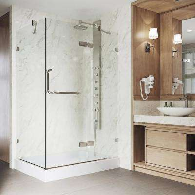 Monteray 40.25 in. x 79.25 in. Frameless Pivot Shower Door in Brushed Nickel and Clear Glass with Right Base