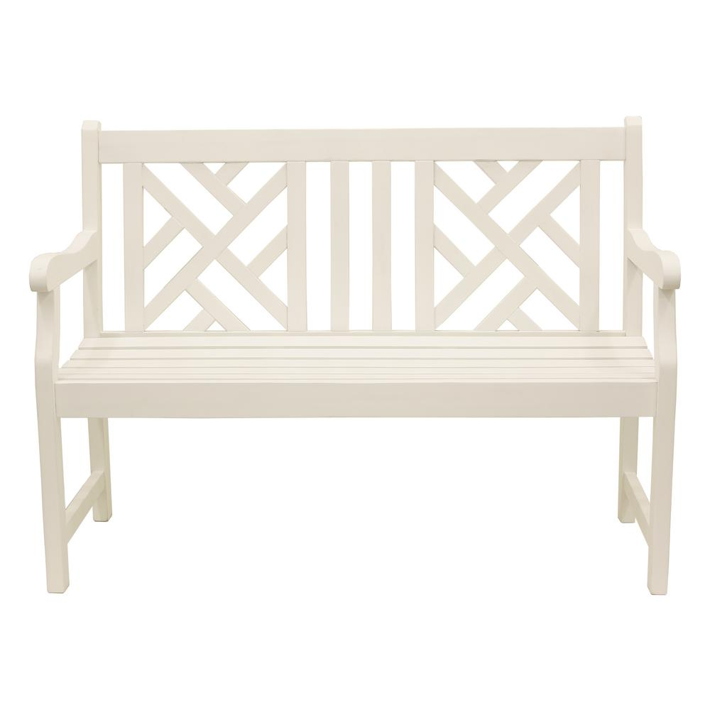 Atlantic 48in. White Wood Outdoor Bench