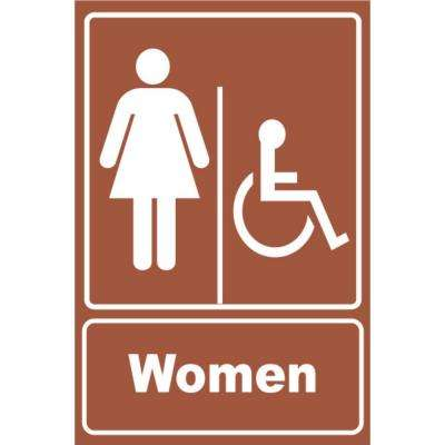 5.5 in. x 6.5 in. Plastic Brown Women Wheelchair Restroom Sign