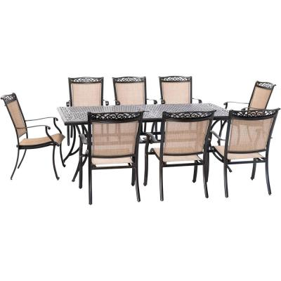 Fontana 9-Piece Aluminum Outdoor Dining Set with 8 Sling Chairs and a 42 in. x 84 in. Cast-Top Table
