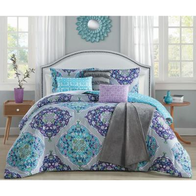 Chrissa 7-Piece Blue and Orchid Queen Comforter Set with Throw