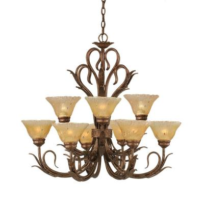 Concord Series 9-Light Bronze Chandelier with Amber Crystal Glass Shade